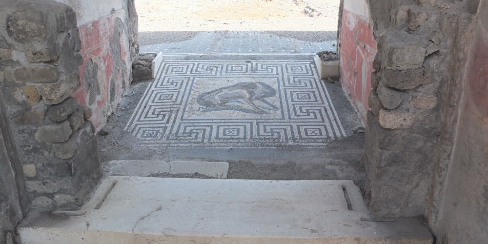 Mosaic tile floor in Pompeii